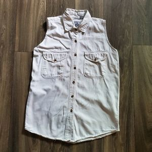 EUC! Vintage 90s White Sleeveless Button Shirt